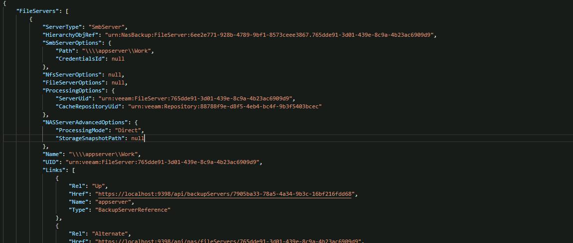 Get File servers information via the API in Veeam v10 Enterprise Manager