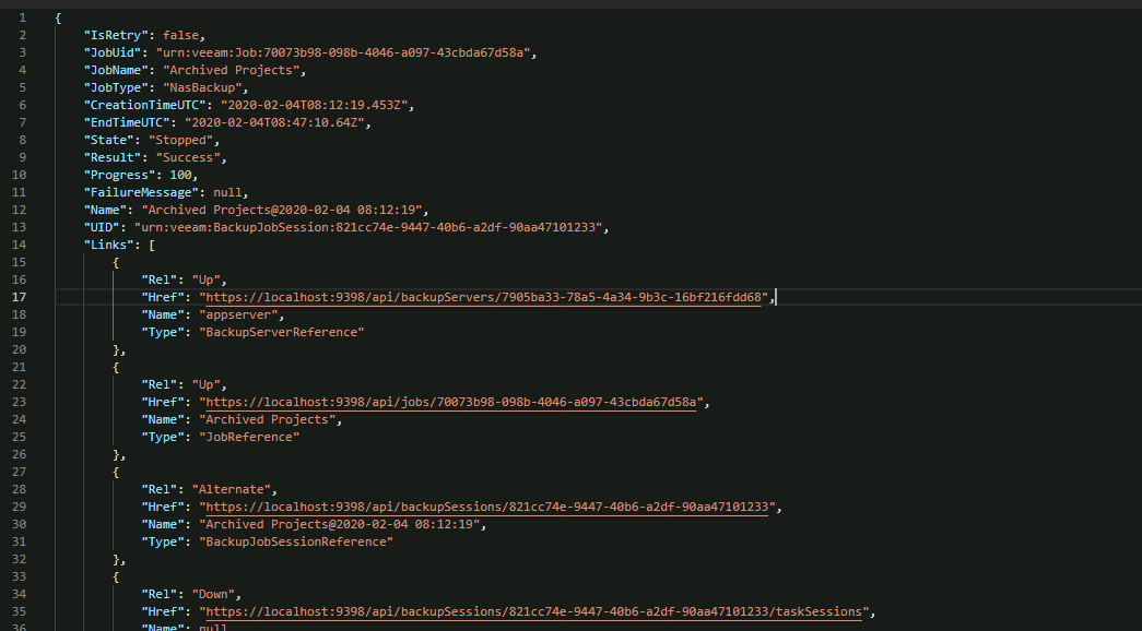 Get NAS backup sessions detail from the Veeam v10 Enterprise Manager API