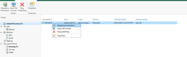 Instant Disk Recovery in Veeam v10