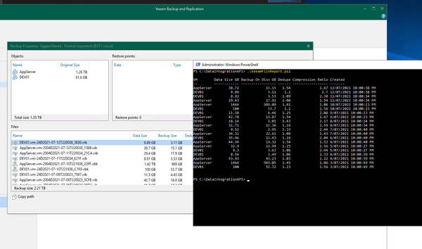 Extracting Veeam Compression and Dedupe Ratios from Backup using Powershell